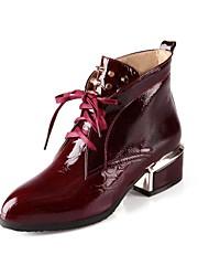 billige -laklæder-Modestøvler-Dame-Sort Blå Rød Hvid-Fritid-Tyk hæl
