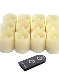 cheap -Set of 12 Ivory Color Plastic Flameless LED Votive Light With Remote Control