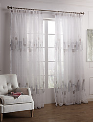 Rod Pocket Grommet Top Tab Top Double Pleat Two Panels Curtain Modern , Print Bedroom Polyester Material Sheer Curtains Shades Home