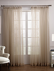 cheap -Two Panels Curtain Modern Bedroom Polyester Material Sheer Curtains Shades Home Decoration For Window
