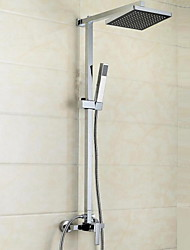 cheap -Contemporary Modern Shower System Waterfall Handshower Included Wall Mount Ceramic Valve Four Holes Single Handle Three Holes Chrome,