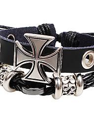 abordables -Homme Bracelets Bracelets en cuir bijoux de fantaisie Fait à la main Personnalisé Cuir Alliage Forme de Croix Bijoux Pour Soirée