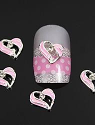 mode 10pcs strass rose alliage de coeur art de la décoration des ongles