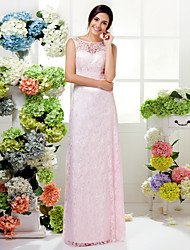 Sheath / Column Jewel Neck Floor Length Lace Bridesmaid Dress with Ruching by LAN TING BRIDE®
