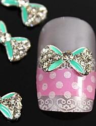 cheap -10pcs   Green Crossing Rhinestone Bow Tie Alloy Fingernail Accessories Nail Art Decoration
