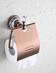 abordables -mural contemporain monture rose porte-papier de toilette en laiton finition or