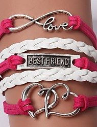 cheap -Women's Charm Bracelet Leather Bracelet Unique Design Friendship Fashion Handmade Initial Jewelry Personalized Multi Layer Costume