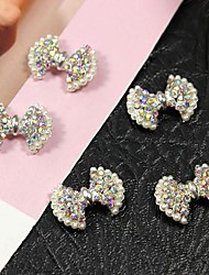 10pcs bling ab cristal strass papillon avec perle 3d alliage art de la décoration des ongles