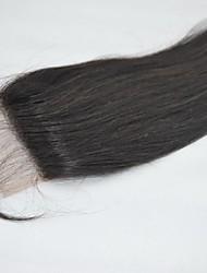 "14"" #1B Darkest Brown 4x4"" Indian Human Hair Lace Closure Hairpiece Natural Straight"