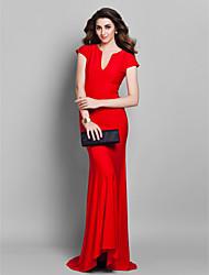Sereia Decote V Cauda Escova Microfibra Jersey Evento Formal Vestido com Pregas de TS Couture®