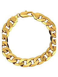 cheap -Vogue 22CM Men's 24K Yellow Gold Filled Bracelet Figaro Curb Link Chain 12MM Width Jewelry Gifts
