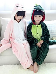 Kigurumi Pajamas Dinosaur Leotard/Onesie Festival/Holiday Animal Sleepwear Halloween Pink Green Patchwork Flannel Kigurumi For Kid