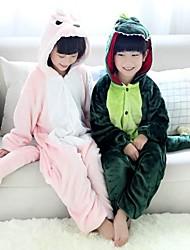 baratos -Pijamas Kigurumi Dinossauro Pijamas Macacão Ocasiões Especiais Flanela Tosão Verde / Rosa claro Cosplay Para Crianças Pijamas Animais