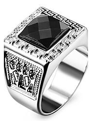 Homme Femme Bagues Affirmées Amour Personnalisé bijoux de fantaisie Acier inoxydable Acrylique Imitation Diamant Formé Carrée Forme