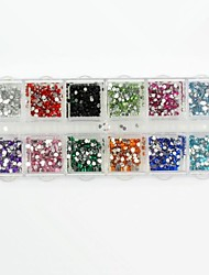 cheap -3600PCS Round Boxed Acrylic Rhinestones False Diamond for False Nail Tips Nail Art Decorations