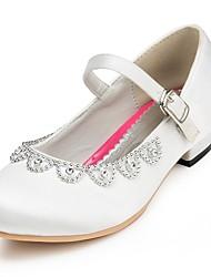 Girls' Heels Comfort Satin Spring Summer Fall Winter Wedding Comfort Rhinestone Flat Heel Ivory White Red Pink Flat Under 1in
