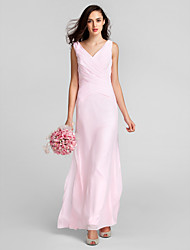 Sheath / Column V-neck Floor Length Chiffon Bridesmaid Dress with Criss Cross by LAN TING BRIDE®