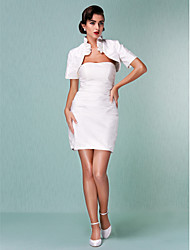 cheap -Sheath / Column Strapless Short / Mini Taffeta Wedding Dress with Ruche Ruffle by LAN TING BRIDE®