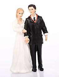 baratos -Decorações de Bolo Tema Clássico Casal Clássico Resina Casamento Com Caixa de Ofertas