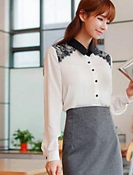 Women's Spring / Fall Blouse,Solid Long Sleeve Pink / White Thin
