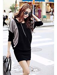 baratos -Muka cor de alto contraste pescoço camiseta manga longa