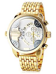 Men's Dual Time Zones Gold Steel Band Quartz Wrist Watch (Assorted Colors) Cool Watch Unique Watch