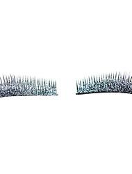 economico -1 paio luccicante argento ciglia polvere occhio end allungato