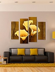 cheap -Stretched Canvas Print Abstract Fantasy Botanical Four Panels Vertical Print Wall Decor Home Decoration