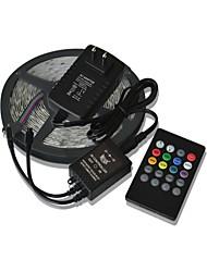 baratos -5m 300x3528 SMD luz tiras música rgb flexível tiras de luz LED + música 20key poder de controle remoto + 2a (AC110-240V)