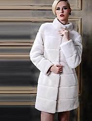 baratos -luxo elegante pele do pescoço simulada longo do revestimento das mulheres