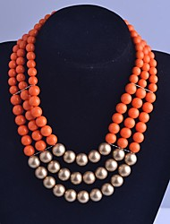 cheap -Women's Strands Necklace - Multi Layer Orange Necklace For Party Daily Casual