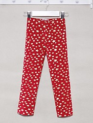 Girl's Solid Leggings,Cotton Blend Winter / Spring / Fall Black / Brown / Red