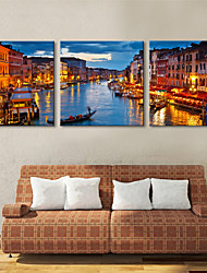Stretched Canvas Art Landscape The Green River Set of 3