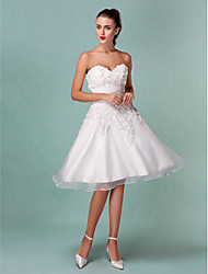 A-Line Princess Sweetheart Knee Length Organza Satin Wedding Dress with Flower Ruche by LAN TING BRIDE®