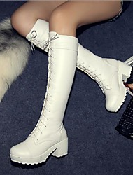 Women's Shoes Leatherette Spring Fall Winter Chunky Heel Block Heel Knee High Boots For Casual Black White