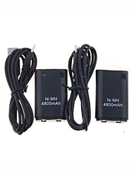 cheap -2 X USB Charger Cable +Battery Pack For XBOX 360 Wireless Controller