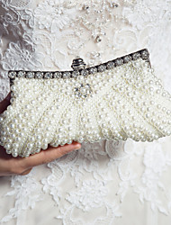cheap -Women's Bags Satin Evening Bag Pearl Sequin Imitation Pearl for Wedding Black Pink Ivory