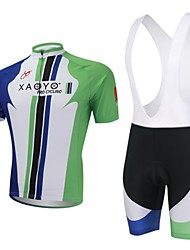 cheap -XAOYO Men's Short Sleeves Cycling Jersey with Bib Shorts - Green Bike Clothing Suits, Quick Dry, Breathable