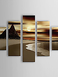 IARTS®Oil Painting Landscape Beach and Sunset Set of 5 with Stretched Frame Hand-Painted On Canvas For Home Decoration