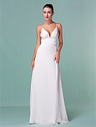 Sheath / Column Plunging Neckline Floor Length Chiffon Wedding Dress with Draped by LAN TING BRIDE®