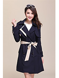cheap -Women's Chic & Modern Coat-Color Block,Modern Style