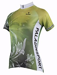 cheap -ILPALADINO Women's Short Sleeves Cycling Jersey - Green Floral / Botanical Bike Quick Dry, Ultraviolet Resistant, Breathable