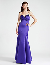 cheap -Mermaid / Trumpet Strapless Sweetheart Floor Length Satin Bridesmaid Dress with Flower(s) Side Draping by LAN TING BRIDE®