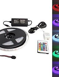 cheap -Waterproof 5M 300x5050SMD RGB LED Strip Light with 24-Key Remote Controller and AC Adapter Set (US Plug 100-240V)
