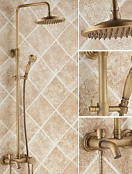 Antique Shower System Ceramic Valve Three Holes Single Handle Three Holes Shower Faucet