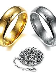 senhor dos anéis anel de aço de tungstênio escritura (enviar colar)