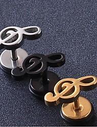 cheap -European Fash Musical Note  Titanium Steel Stud Earrings(Black,Silver,Gold) (1 Pc) Christmas Gifts