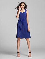 Sheath / Column Sweetheart Knee Length Chiffon Bridesmaid Dress with Draping Criss Cross Ruching by LAN TING BRIDE®