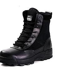 "cheap -Men's Shoes Leather Winter Fall Combat Boots Comfort Boots 4""-6""(Approx.10.16cm-15.24cm) Booties/Ankle Boots Lace-up for Outdoor Black"