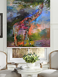cheap -Abstract Oil Painting Style Giraffe Roller Shade